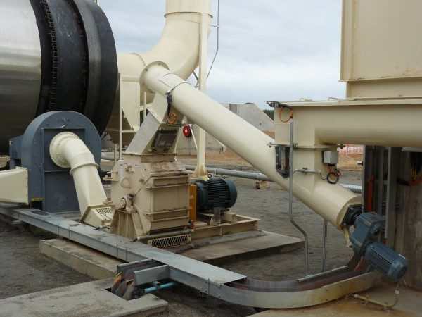 Schutte-Buffalo Series 24 Circ-U-Flow hammer mill installation processing sawdist for boiler fuel