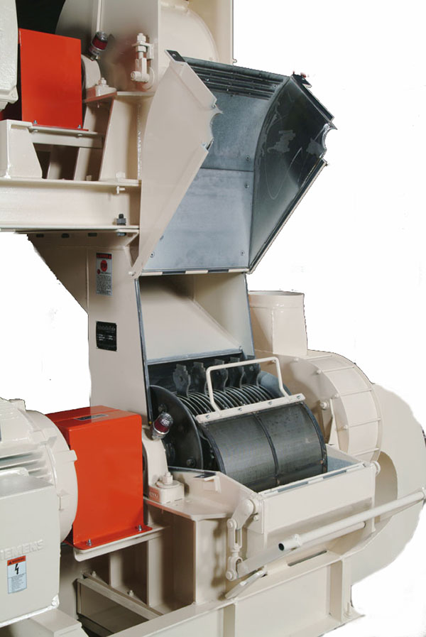 interior view of Schutte-Buffalo FG Series dual stage fine grinding hammer mill